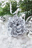 Silver Christmas decoration - cone candle, balls and branch of c