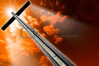 Cross Against the Orange Sky