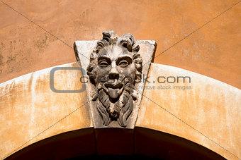 Grotesque Mask on an Old Arch Keystone - Verona Italy