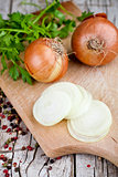 fresh onions, parsley and peppercorns