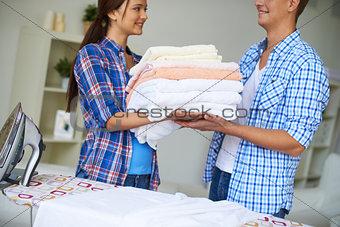 During housework