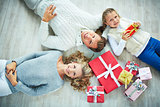 Family with giftboxes