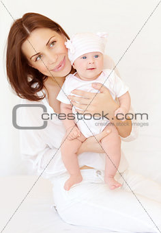 Pretty female with baby