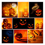 Halloween glowing pumpkins collage