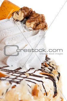 Cake with cream and nuts