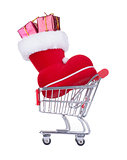 Shopping Cart With a Red Christmas Boot