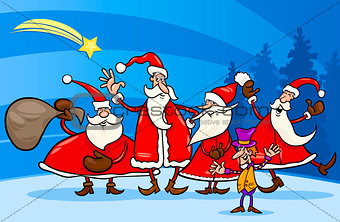 santa claus group cartoon illustration