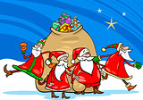 santa claus with presents cartoon