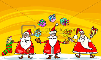 santa claus christmas group cartoon