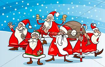 cartoon group of santa clauses