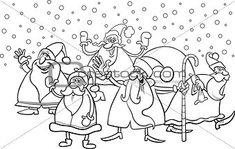 cartoon santa clauses coloring page