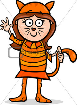 girl in cat costume cartoon