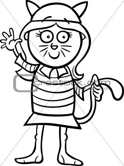 girl in cat costume coloring page