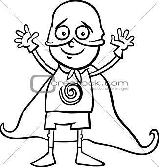 boy in hero costume coloring page