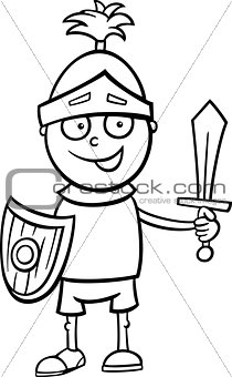 boy in knight costume coloring page
