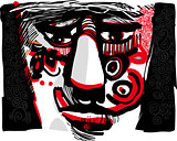 tribal face artistic drawing illustration