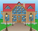 wooden house vector illustration