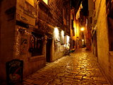 Golden night  view of Mediterranean street in Rovinj