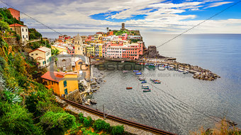 Panoramic view of colorful Vernazza village in Cinque Terre