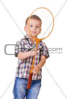 Boy with badminton racket on white
