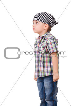 Angry capricious preschool kid on white