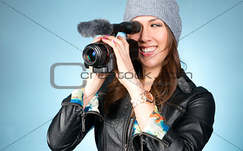 Hip Young Adult Female Points Video Camera Creative Movie Making