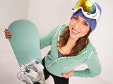 Snowboard and Fun Loving Female in Teal