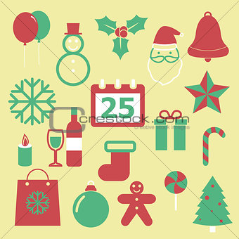 Set of Christmas icons on yellow background