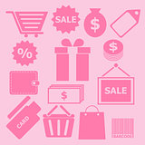 Set of shopping icons on pink background