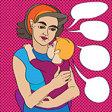 pop art mom and baby