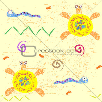 Abstract seamless pattern with turtles