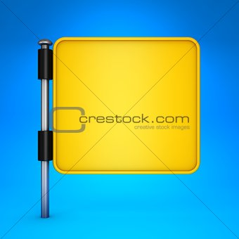 Blank Yellow Square Display on Blue Background.
