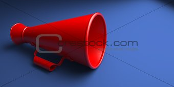 Old Red Megaphone or Bullhorn Isolated.