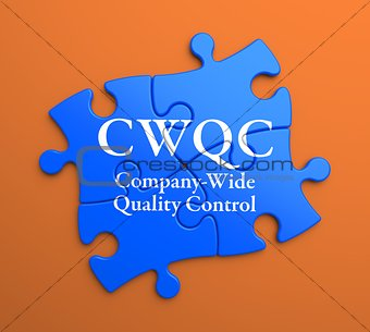 CWQC on Blue Puzzle Pieces. Business Concept.