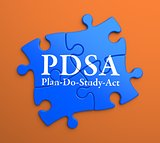 PDSA on Blue Puzzle Pieces. Business Concept.
