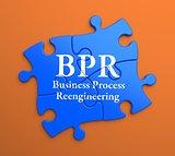 BPR on Blue Puzzle Pieces. Business Concept.