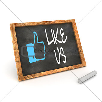 "Blackboard showing ""Like us"" as used in social networks"
