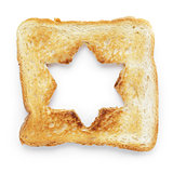 toasted slice of white bread with hole star shape