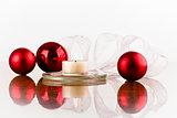 flask red white ribbon