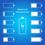 Simple blue battery level vector illustration
