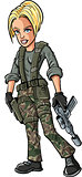 Cartoon blond female soldier with a sub machine gun