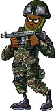 Black cartoon soldier with gun