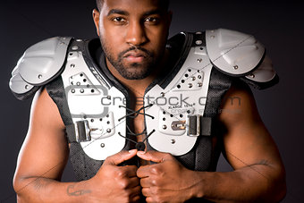 Football Player in Shoulder Pads
