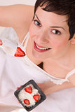 Healthy Treat Woman Wearing White Eats Fresh Fruit & Cottage Cheese