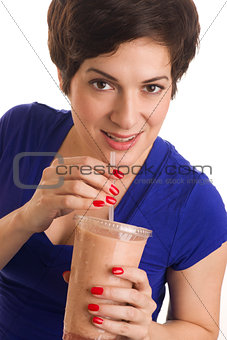 Attractive Woman sips Flesh Tone Blended Fruit Smoothie
