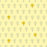 Seamless vector pattern light bulbs turn on and off random on yellow background texture