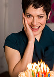 Birthday Cake Burning Candles Excited Attractive Woman