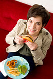 Hamburger Time Cheeseburger Delight Attractive Brunette Woman Eats Lunch