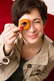 Onion Ring Eye Woman Smiling Plays with Fried Onion Ring