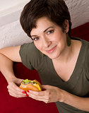 Cheeseburger Delight Attractive Brunette Woman Eats Lunch